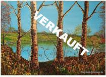 VERKAUFT! Acrylmalerei Seeblick, Lichtreflexe in Metallicfarben Größe 100 x 70 x ca 4cm, Jahr 2013