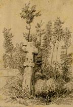 Miannay- Dessin de Léon Gillard- Au cimetière