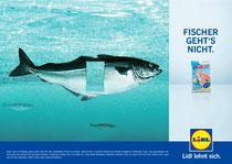 Kunde: Lidl / Agentur: Freunde des Hauses / Entwurf: Frischer Fisch 1