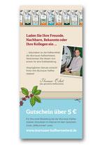 Empfehlungskarte Rückseite. Konzept & Text Heinrike Helm.