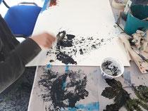 """Malen mit Naturmaterialien """"Ihr KUNST uns mal"""", CJD Projekt"""