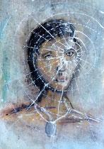 """2016-181, """"spider girl"""", acrylics, DIN A3"""