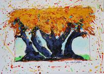 Mes arbres fous 1- Encre + acrylique sur papier 300 gr.