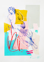 "Davide Ricchetti : "" Aurora, exercise of Michelangelo"", mixed media on paper, cm 40x25, 2016. On permanent display at Gallery Bruno modern and contemporary art, Villa S.Giovanni, Italy"