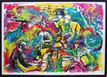 "Davide Ricchetti : "" Jazz n 8"" , acrylic on paper, cm 50x70, 2010"