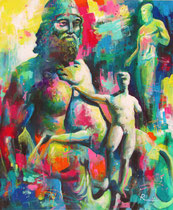 "Davide Ricchetti "" At Museum of Reggio Calabria, Riace Bronzes and Dioscuro"", acrilic on canvass 2015"