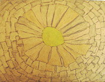 goldpigmentfarbe auf karton, 13 x 10 cm