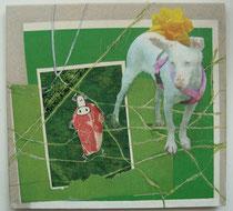 mini und kotlettchen, collage öl auf katon, 18 x 18 cm, privatbesitz