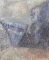 Blaue Berge in der Provence, 2005 _____ 50x40 Acryl, Sand, Papier auf Baumwolle