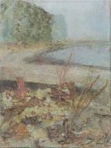 Elbufer 2, 2002 _____ 40x30 Acryl, Sand, Gräser, Rinde auf Baumwolle