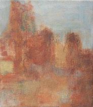 Ockerfelsen in Roussillion, 2002 _____ 40x35 Acryl, Sand, Papier auf Baumwolle