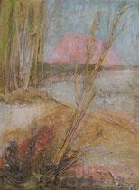 Elbufer 1, 2002 _____ 40x30 Acryl, Papier, Sand, Gräser