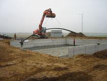 Windpark Tempelfelde II - Errichtung Fundamentschalung mittels Fertigteilbetonplatten