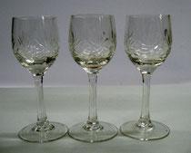 3096/ 3 Kristall-Sherrygläser ~1900, H 14cm, EUR 35,-