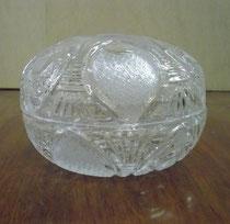 3279/ Kristalldose ~1880, H9, Ø 13cm, EUR 40,-