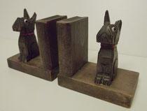 3350/ Buchstützenpaar ~ 1930, Buche+Glasaugen, H 11,5cm, 2 Abplatzer, EUR 24,-
