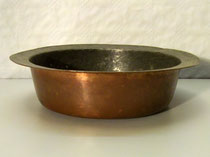 3656/ Pfanne ~ 1800, Kupfer, innen verzinnt, H 8, Ø 28cm, EUR 120,-