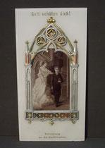 4372/ Glasbild ~1900, Verzierung aus Zinn, Erinnerung an die Confirmation, H 22, B 11cm, EUR 28,-