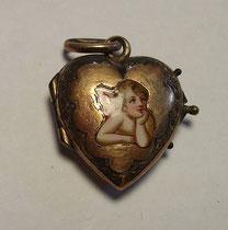 3253/ Medaillon ~1850, Silber vergold.+Emaille, L 2,5cm, EUR 28,-
