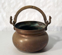 3931/ Henkeltopf ~1850, Kupfer+Messinggriff, H 15cm, EUR 36,-
