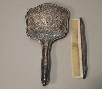 3881/ Spiegel+Kamm ~1900, Silber 835, Spiegel L 25,5cm, EUR 210,-