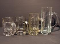 4085/ 4 Biergläser ~1900, Pressglas, H 12-20cm, EUR 40,-