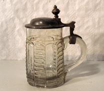 3905/ Bierkrug ~1900, Pressglas, H 18cm, EUR 32,-