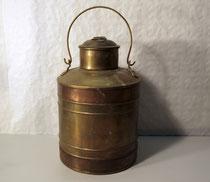 3903/ Deckelkanne ~1900, Messing+Kupfer, H 44, Ø 23cm, EUR 62,-