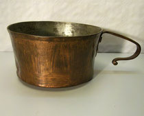 3653/ Kochtopf ~ 1800, Kupfer, innen verzinnt, H 10, Ø 19cm, EUR 68,-