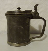 4290/ Bierkrug ~1800, Zinn, H 13cm, ¼ Liter, repariert, EUR 46,-