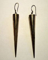 3242/ Ohrringe ~ 1970, 925er Silber, L 10cm, EUR 28,-