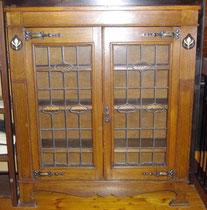 KT0382/ Bücherschrank ~1900, Jugendstil, Eiche, H 120, B 107, T 29, IT 22 cm, EUR 590,-