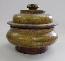 3147/ Tibet. Teedose ~1850, Holz bemalt, H 14, Ø 16cm, EUR 45,-