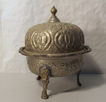 3878/ Reisschüssel mit Deckel ~1900, Weißblech+Messing, H 24, Ø 21cm, EUR 48,-