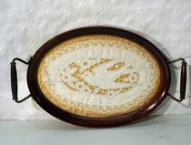 4164/ Tablett ~ 1900, Holz/Glas/Lochstickrei, L 31, B 19cm, EUR 42,-