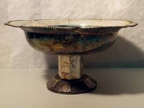 3991/ Versilberte Obstschale ~1930, H 18, Ø 35cm, eckiger Fuß, EUR 95,-