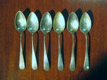 2753/ 6 Mokkalöffel ~1900, 800er Silber, L 11,5cm, EUR 75,-