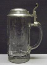 4279/ Bierkrug ~ 1900, Pressglas, Signum im Deckel, H 21cm, 0,5 Liter, EUR 42,-