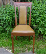 KT0382/ Stuhl ~1900, Polsterung, Ju-Stil, Eiche lasiert, H 100, B 46, EUR 50,-