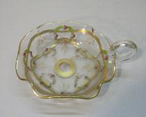 4327/ Glas-Hanhelschale ~1800, feien Bemalung, Abriss, Gebrauchsspuren, L 15, B 12, H 6cm, EUR 65,-