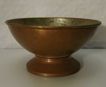 3654/ Kupferschale ~ 1750, Kupfer, innen verzinnt, H 11, Ø 22cm, EUR 75,-