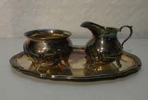4310/ Zucker-Milch-Set ~1950, Wilkens, 800er Silber, 173 g, Tablett 21x15cm, Kännchen H 6,5cm, EUR 160,-
