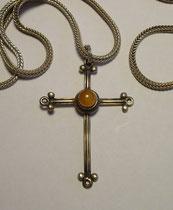 3265/ Silberkette (L 59cm) mit Kreuz (Silber+Bernstein, H 5cm), EUR 30,-