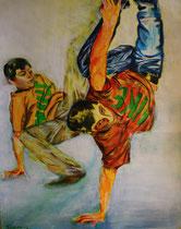 Breakdance II , Acryl auf Papier, 50 cm x 64 cm, Susanna Schürch, 2012