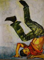 Breakdance III , Acryl auf Papier, 50 cm x 64 cm, Susanna Schürch, 2012