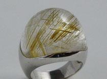 Ring, Silber 925 mit Rutilquarz-Cabochon