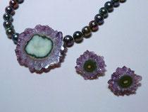 Wechselschließe an Perlenkette und Ohrstecker aus Amethyst , Fassung aus Silber 925, VERKAUFT