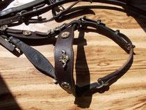 Filet cheval,Création et montage de boucle, cuir collet végétal,  Réparation couture sellier