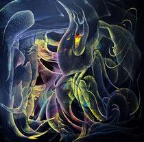 Green fantasy 绿幻 100  x 100cm, 布面油画, 2021 Mauricio Paz Viola