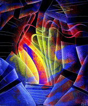 Stairs to infinity, oil on canvas, 2015, contemporary abstract art